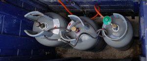 Op Amstelglorie: gasflessen in gaskist (bovenaanzicht)