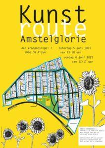 Kunstroute Amstelglorie 2021, flyer met deelnemende tuinen