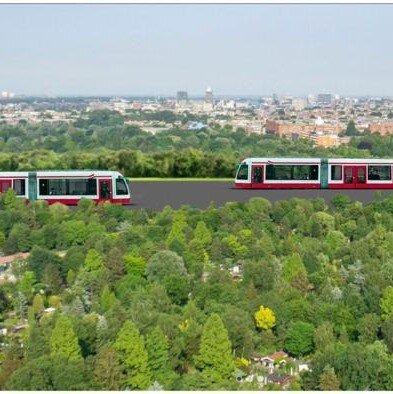 tram en metro door park