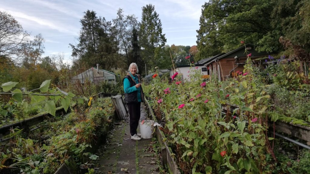 Mieke op de kweektuin van Amstelglorie